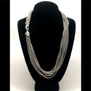 David Yurman Multi Box Chain Necklace 925/14K